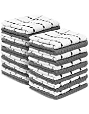 """Zeppoli Kitchen Towels, 12 Pack - 100% Soft Cotton -15"""" x 25"""" - Dobby Weave -Great for Cooking in Kitchen and Household Cleaning (12-Pack Cotton) (12 Pack)"""