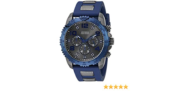 Amazon.com: GUESS STEEL,W0599G2 Mens Velocity,Stainless Steel Case,Silicone Strap Black & Blue,Screw Crown,100m WR: Watches
