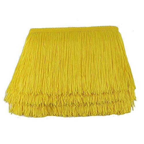 - ADAMAI 10yards/lot Width in 4inch Dyed Lace Tassel Fringe Trim Ribbon Sewing Latin Dress Accessories (Yellow)