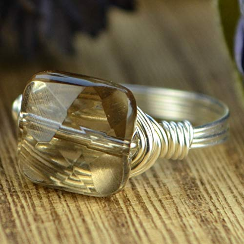 Faceted Smoky Quartz Square Gemstone Bead and Sterling Silver or Gold Filled Wire Wrapped Ring- Made to size 4-14 ()