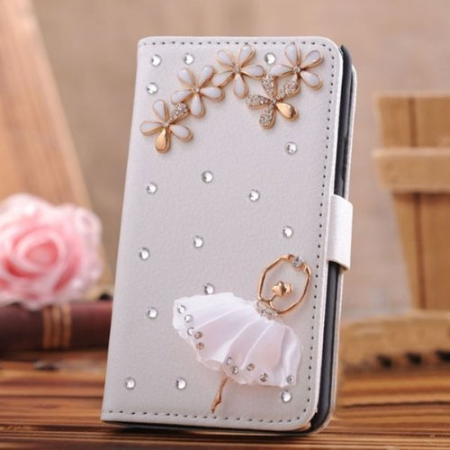 EVTECH(TM) Diamant Leder Strass Bling Tasche Flip Case Glitzer Book Wallet Hülle Cover Etui für Apple Iphone 6 (4.7 Zoll)