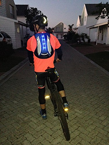 Sport LED Sicherheit Rucksack 15L (klein und leicht) - Sicherheit geht. Helle LED-Lichter auf Rucksack zu fördern Sicherheit beim Laufen, Wandern, Walking, Radfahren, Skaten, Motorradfahren etc..