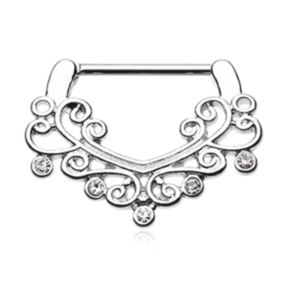 14 GA Victorian Filigree Sparkle Nipple Clicker 316L Stainless Steel Body Piercing Jewelry For Women and Men Davana Enterprises HT HT-NP-424-CL Sold by Pair
