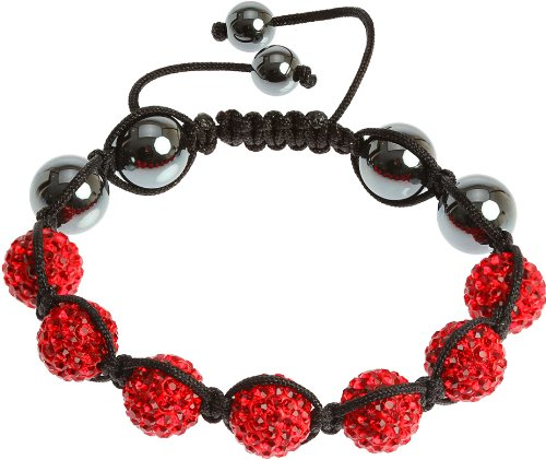 Royal Diamond Iced Siam Red Crystal Shamballa Hip Hop Beaded Bracelet (Red Hip Hop Bracelet)
