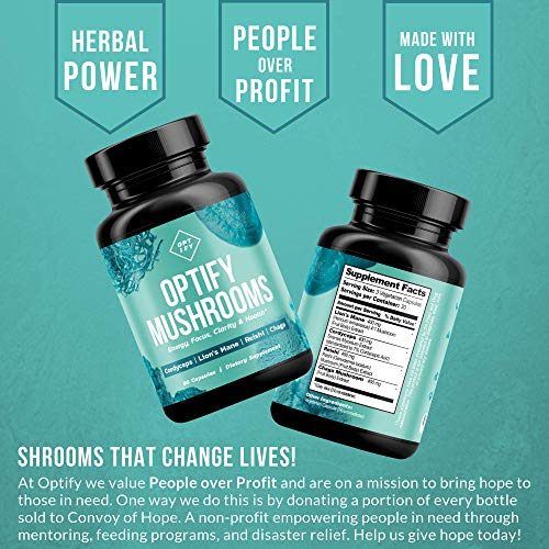 OPTIFY Mushroom Supplement - Lions Mane, Cordyceps, Reishi & Chaga - Nootropic Brain Supplement & Immune System Booster for Natural Energy, Stress Relief, Focus, Memory, Wellness - 90 Capsules