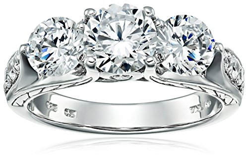 Sterling Silver White Cubic Zirconia 3-Stone Ring, Size 7