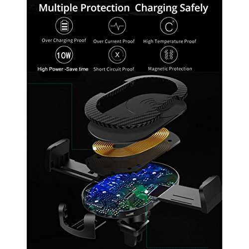 Wireless Car Charger, 2 in 1 10W Fast Wireless Charger Air Vent & Bracket Phone Holder for iPhoneX/8/8 Plus, Samsung Galaxy S9/S9+/Note 8/S8/S8 Plus/S7/S6 Edge All Qi Enabled. by DRTJ (Image #3)