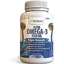 Omega 3 Fish Oil Triple Strength with EPA 800 + DHA 600 + Vitamin E   Pharmaceutical Grade Natural Fatty Acids   Omega Supplement from Deep Blue Ocean Fish   120 Liquid Fish Oil Capsules   2000 mg