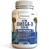 Ultra Omega-3 Fish Oil 2000mg Supplement/w 800 EPA + 600 DHA + Vitamin E (120 Softgels) Triple Strength Pharmaceutical Grade Natural Fatty Acids From Deep Blue Ocean Fish In Liquid Capsules