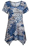 Nandashe Plus Size Clothes Women Summer, Modern Miss Sexy Scoop Collar Stretchy Cool Tunic Long Tops Capris Home Wear Blue Beige XX-Large