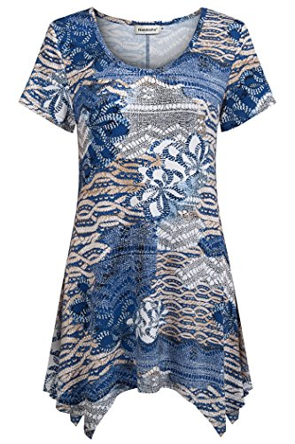 (Nandashe Flowy Tops for Women, Ladies O-Neck Short Sleeves Casual Holiday Vacation Church Tunic Blouses to Wear with Shorts Skinny Pants Blue Beige 1x)