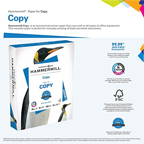 Large Product Image of Hammermill Paper, Copy Paper, 8.5 x 11 Paper, Letter Size, 20lb Paper, 92 Bright, 8 Ream Case / 4,000 Sheets (113640C) Acid Free Paper