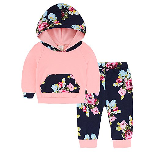 Popshion Baby Girls Floral Hoodie+ Floral Pant Set Leggings 2 Piece Outfit