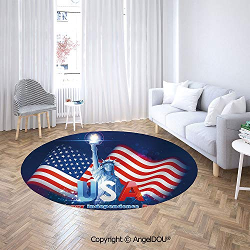 AngelDOU Non-Slip Washable Round Area Rug Carpet Hipster Dog with Sun Glasses and US Flag Comic Absurd Joke Illustration for Kids Children Room Play Room.