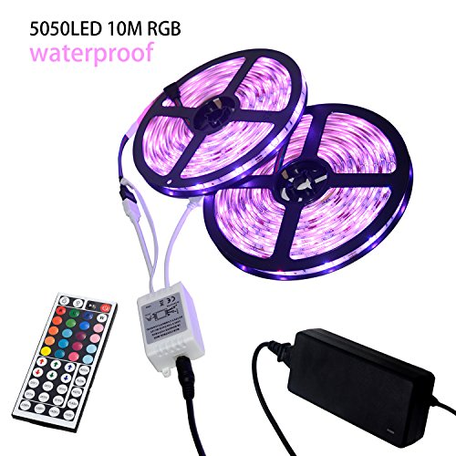 Flexible Changing Led Strip Lights-Waterproof 32.8ft 12V SMD 5050 RGB 300 LEDs for Home,Kitchen,Car,Bar,Outdoor Party,Holiday Decoration Including 44 key IR Remote Controller,Power Supply (Led Lights Line)