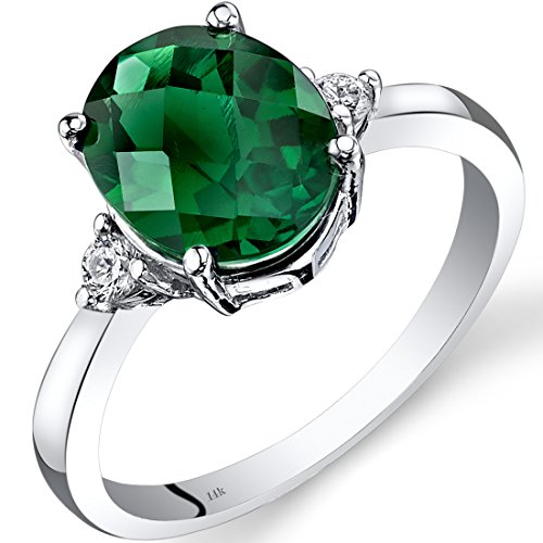 (Peora 14K White Gold Created Emerald Diamond Ring 2.50 Carat Oval Cut)