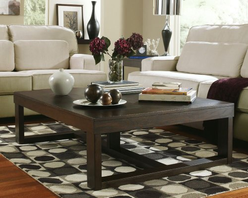 Ashley Furniture Signature Design - Watson Coffee Table - Cocktail Height - Rectangular - Dark Brown (Tables Finish Gold Occasional)