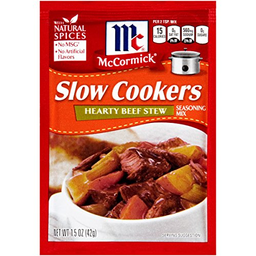 McCormick Slow Cookers Hearty Beef Stew Seasoning Mix, 1.5 oz, Combines Savory Meat, Vegetables and Broth to Create Stick-to-Your-Ribs Comfort Food Simmered to Perfection, No Trans Fats (Best Crockpot Beef Stew)