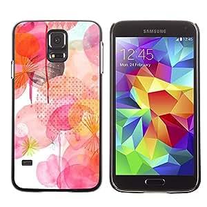 FECELL CITY // Duro Aluminio Pegatina PC Caso decorativo Funda Carcasa de Protección para Samsung Galaxy S5 SM-G900 // White Pink Yellow Polka Dot