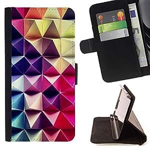 For Sony Xperia Z5 (5.2 Inch) / Xperia Z5 Dual (Not for Z5 Premium 5.5 Inch) Case , Patrón de arte 3D púrpura rosa a cuadros- la tarjeta de Crédito Slots PU Funda de cuero Monedero caso cubierta de piel