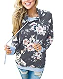 LUBERLIN Women's Comfy Flora Printed Hooded Hoodie Tops Long Sleeve Drawstring Pullover Sweatshirt Pockets (Dark Grey, L)