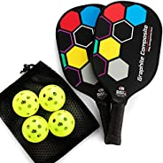 Premium Pickleball Set – 2 Paddle Set with Mesh Carry Bag, 4 Balls by Day 1 Sports - Durable Pickle Ball Paddl