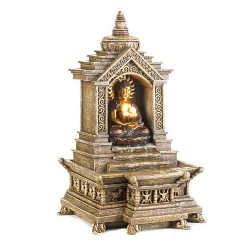 Golden Buddha Temple Faux Stone Tabletop Water Fountain by Smart Living