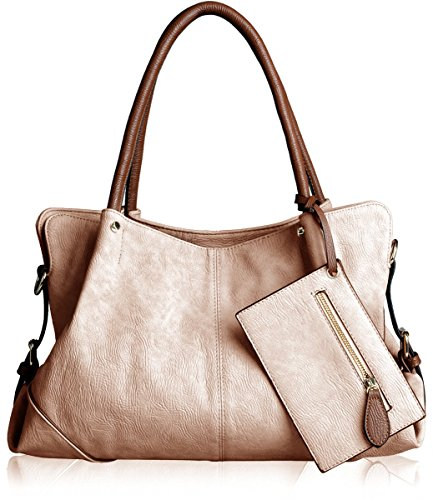AB Earth 3 Pieces Women Hobo Handbag PU Leather Totes Matching Wallet Satchel Shoulder Bag, M898 (Apricot)