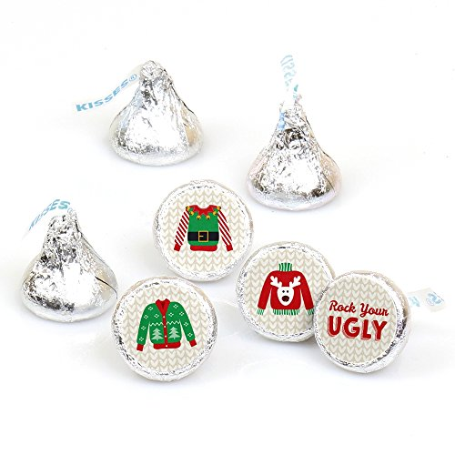 Ugly Sweater - Holiday & Christmas Party Round Candy Sticker Favors - Labels Fit Hershey's Kisses (1 sheet of (Ugly Christmas Sweater Party Ideas)