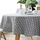 HINMAY Table Cloth, Round Stripe Cotton Line
