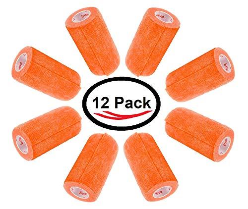 Petflex Tape - 3 Inch Vet Wrap Tape Bulk (Orange) (Pack of 12) Self Adhesive Adherent Adhering Flex Bandage Rap Grip Roll for Dog Cat Pet Horse