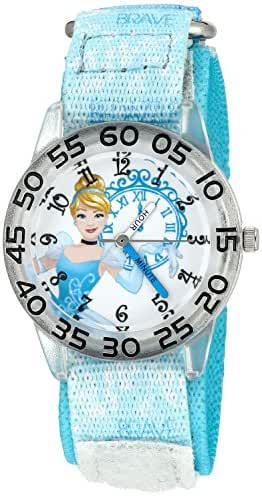 Disney Girl's 'Cinderella' Quartz Plastic and Nylon Automatic Watch, Color:Blue (Model: W002943)