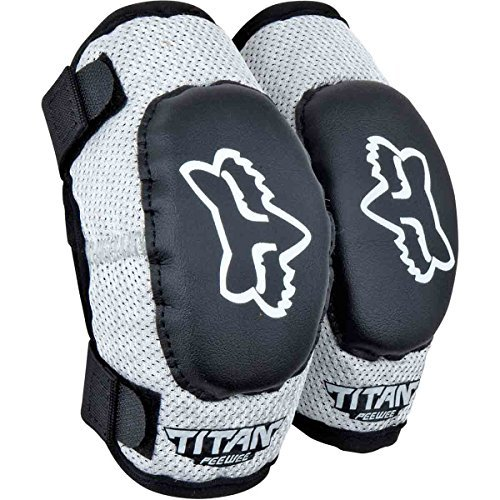Fox Racing PeeWee Titan Youth Elbow Guard MotoX Motorcycle Body Armor - Black/Silver/Youth (ages 6-9)