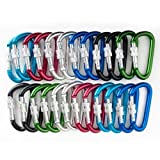 GOGO 24 PCS Aluminum Locking D-shaped Carabiners in Assorted Colors, Gift Idea, Outdoor Stuffs