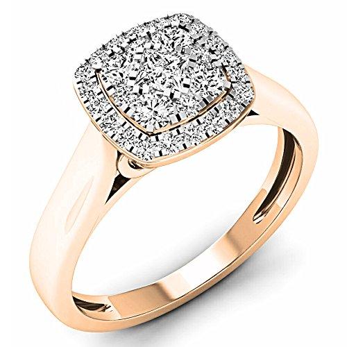 Dazzlingrock Collection 0.50 Carat (ctw) 10K White Diamond Ladies Cluster Engagement Ring 1/2 CT, Rose Gold, Size 7