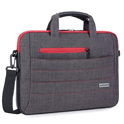 Brinch 15 - 15.6 Inch Multi-functional Suit Fabric Portable Laptop Sleeve Case Shoulder Messenger Bag Briefcase for Laptop, Tablet, Macbook, Notebook - Black-Red (Laptop Bag Red)