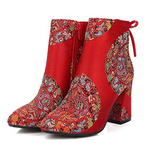 B Boots Style Woman's Embroidery Hand Chinese 36 NSXZ Wedding Short Shoes PvxR6Y6w