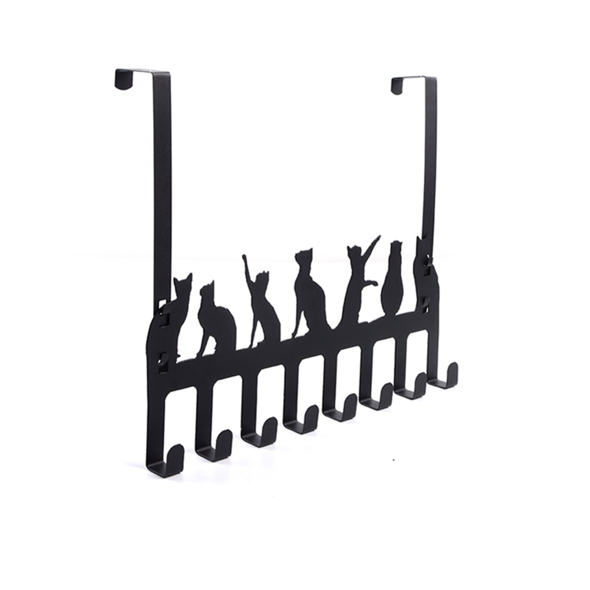 Over The Door Organizer, Heavy Duty Organizer Rack for Towel, Coat, Bag - 8 Hooks, (Black)