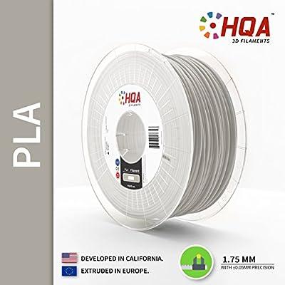 HQA PLA+ 3D Printer Filament, Light Grey, 1.75MM, 1KG Spool, Light Gray, [100% USA NatureWorks 4043D]