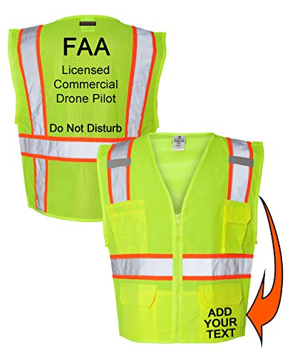 Custom Safety Reflective Mesh Vest with Zipper - Personalized Drone Pilot Vest by Safety Miracle (Image #10)