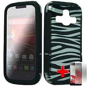 """ZTE Concord II / 2 - 2 Piece Silicon Soft Skin Hard Plastic """"SLIM"""" Case Cover, Black Zebra Stripes White Cover + SCREEN PROTECTOR"""