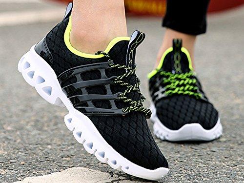 IIIIS-R Botas Zapatillas de deporte Zapatos deportivos de los planos Deslizamiento-en los zapatos suaves de la plataforma del verano respirable de las solamente negro