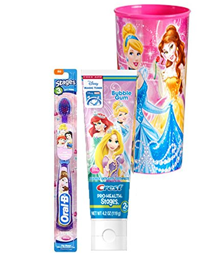 Disney Princess Soft Manual Toothbrush & Crest Disney Princess Bubble Gum Toothpaste 4.2 Oz Plus Bonus Princess Mouth Was Rinse -
