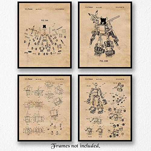 Vintage Lego Transformers Patent Poster Prints, Set of 4 (8x10) Unframed Photos, Wall Art Decor Gifts Under 20 for Home, Office, Man Cave, College Student, Teacher, Children, Comic-Con & Movies Fan