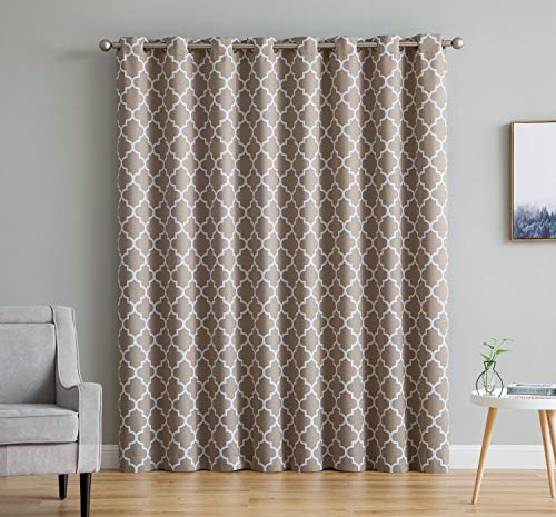 (HLC.ME Lattice Print Thermal Grommet Blackout Patio Door Window Curtain for Sliding Glass Door - Taupe - 100