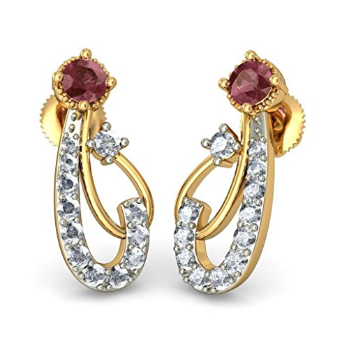 Or jaune 18 K 0,29 CT TW White-diamond (IJ | SI) et Rhodolite Boucles d'oreille à tige