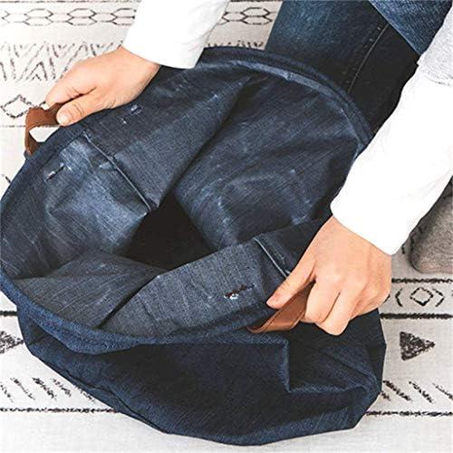 CNDY Seau à Linge Sale, Nordique Pliable avec Panier à Linge à Main Stockage de ménage en Tissu Bleu (Couleur: S)