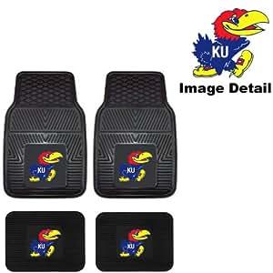 KU University of Kansas Jayhawks Front & Rear Car Truck SUV Vinyl Car Floor Mats - 4PC