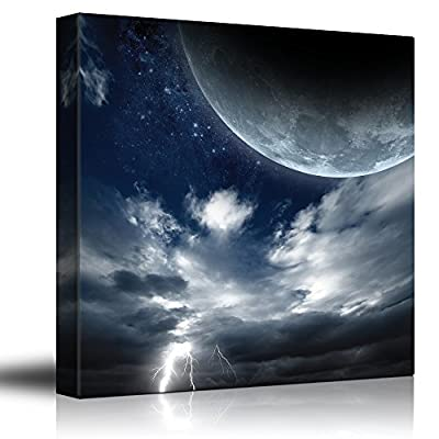 Full Moon Up on The Clouds as Lightning Strikes - Canvas Art Home Art - 24x24 inches