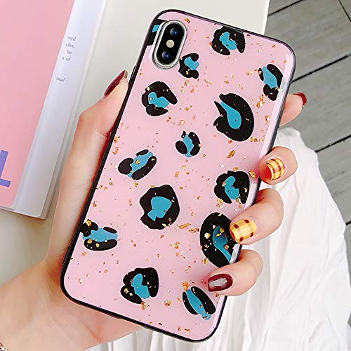 for iPhone X iPhone Xs Case,L-FADNUT Sparkly Colorful Leopard Print Case Chic Luxury Soft Phone Case Slim Fit Shockproof Rubber Cover Protective Bling Back Case for Girls Women,Shiny Pink